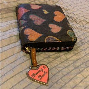 Dooney and Bourke small zip hearts wallet